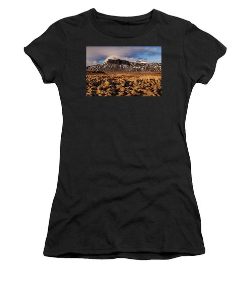 Women's T-Shirt featuring the photograph Mountain And Land, Iceland by Pradeep Raja Prints