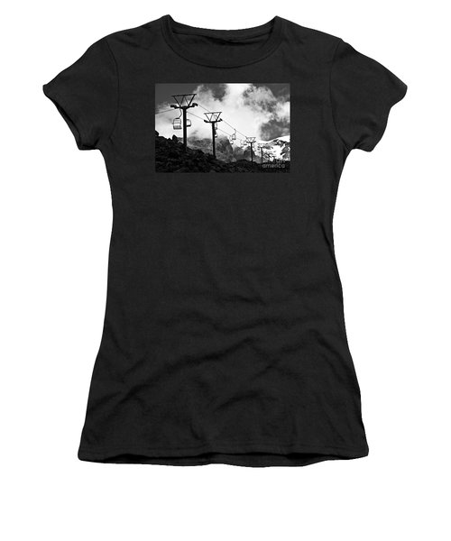 Mountain Cable Road Waiting For Snow Women's T-Shirt (Athletic Fit)