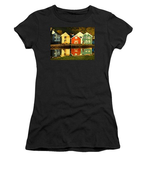 Women's T-Shirt featuring the digital art Mountain Cottages Reflected by Shelli Fitzpatrick