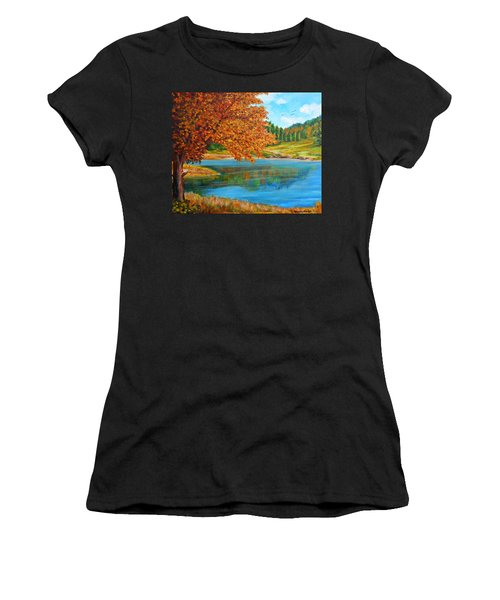 Mountain Lake In Greece Women's T-Shirt (Athletic Fit)
