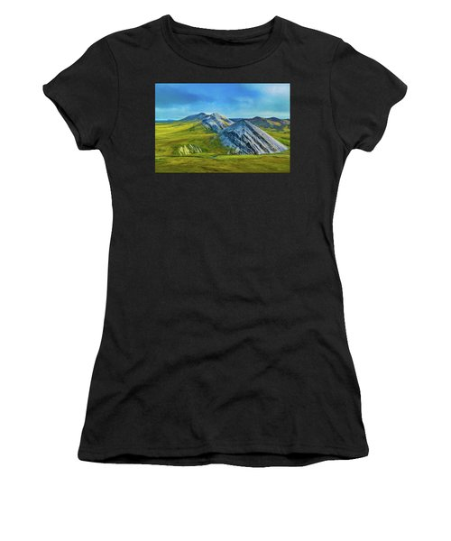Mountain Landscape Digital Art Women's T-Shirt (Athletic Fit)