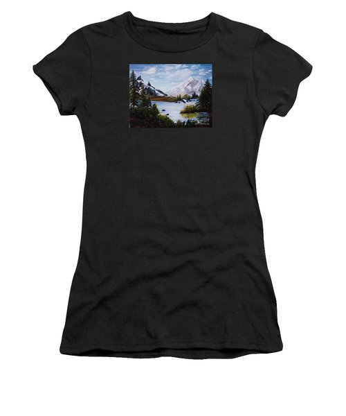 Women's T-Shirt (Junior Cut) featuring the painting Mountain Splendor by Myrna Walsh