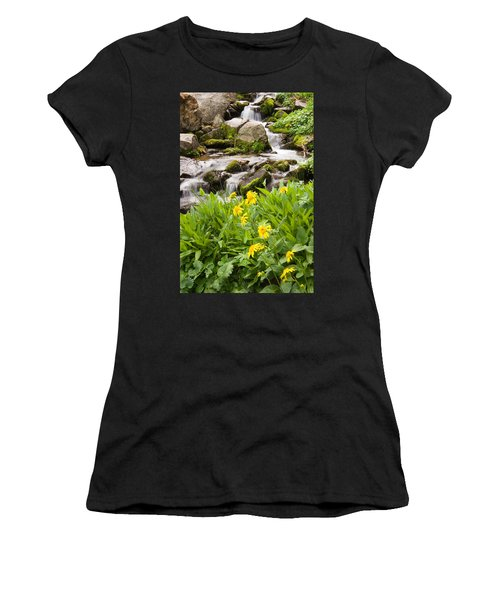 Mountain Waterfall And Wildflowers Women's T-Shirt (Junior Cut) by Utah Images