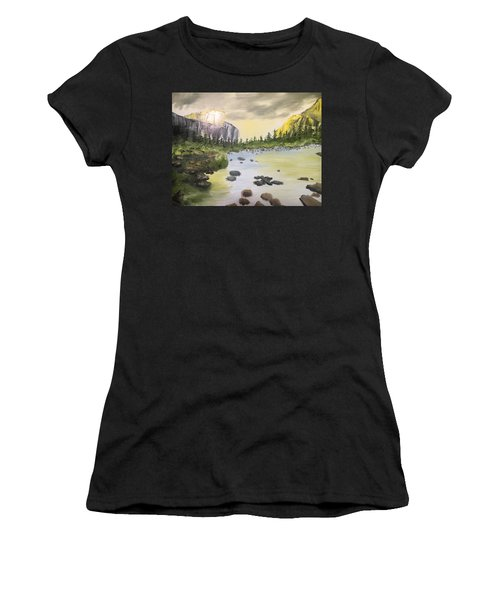 Mountains And Stream Women's T-Shirt (Athletic Fit)
