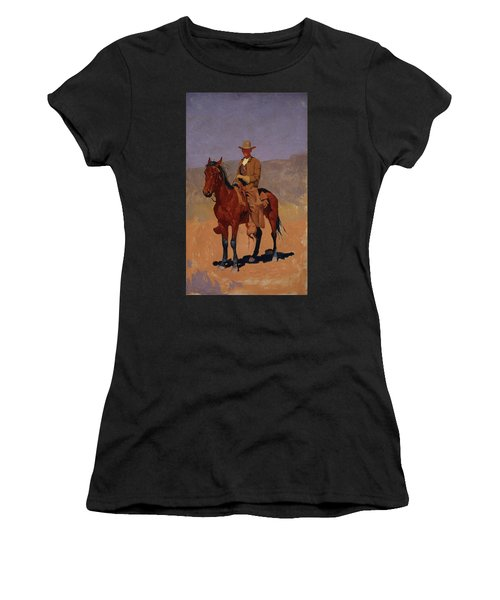 Mounted Cowboy In Chaps With Bay Horse Women's T-Shirt
