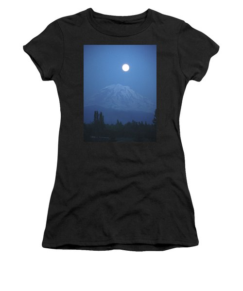 Mt Rainier Full Moon Women's T-Shirt (Athletic Fit)