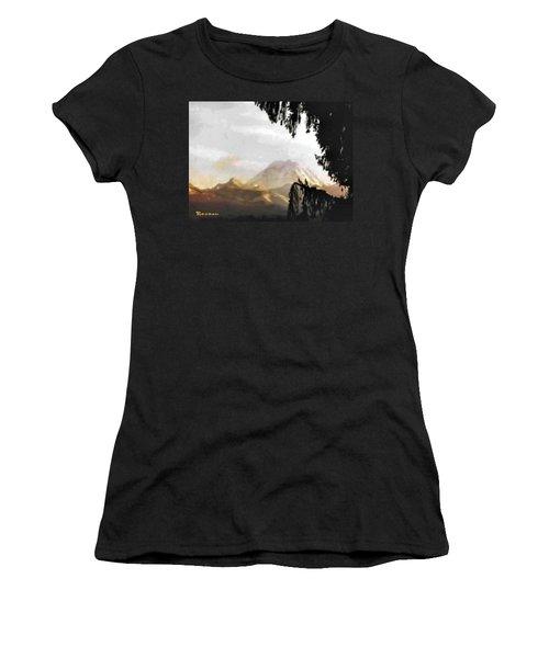 Mt. Rainier In Lace Women's T-Shirt (Junior Cut) by Sadie Reneau