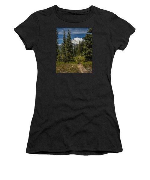 Mt. Rainier Naches Trail Portrait Women's T-Shirt (Junior Cut) by Chuck Flewelling