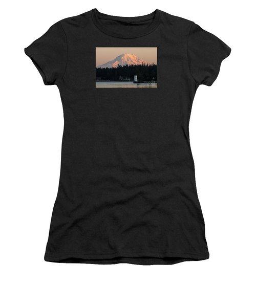 Mt. Rainier Sunset Glow Women's T-Shirt (Junior Cut) by Chuck Flewelling