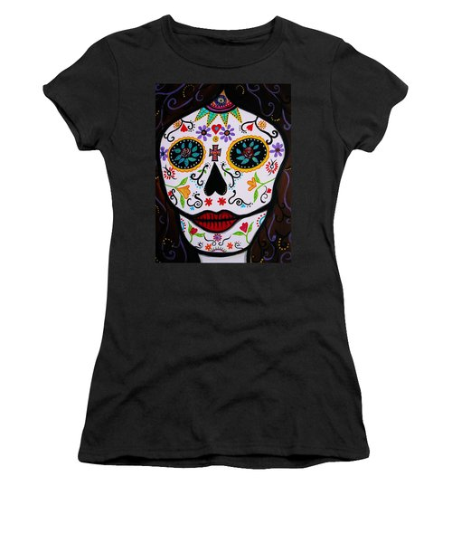 Women's T-Shirt (Junior Cut) featuring the painting Muertos by Pristine Cartera Turkus