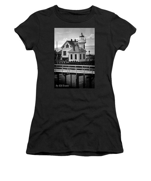 Women's T-Shirt (Athletic Fit) featuring the photograph Mukilteo Lighthouse by Elf Evans