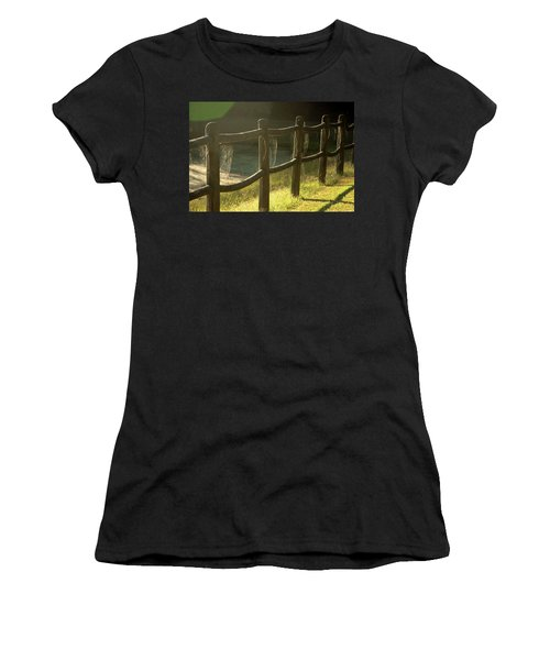 Multiple Spiderwebs On Wooden Fence Women's T-Shirt