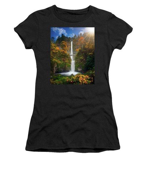 Multnomah Falls In Autumn Colors -panorama Women's T-Shirt (Athletic Fit)