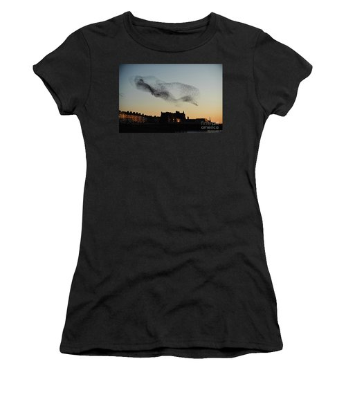 Murmuration Of Starlings Over Aberystwyth Wales Uk Women's T-Shirt