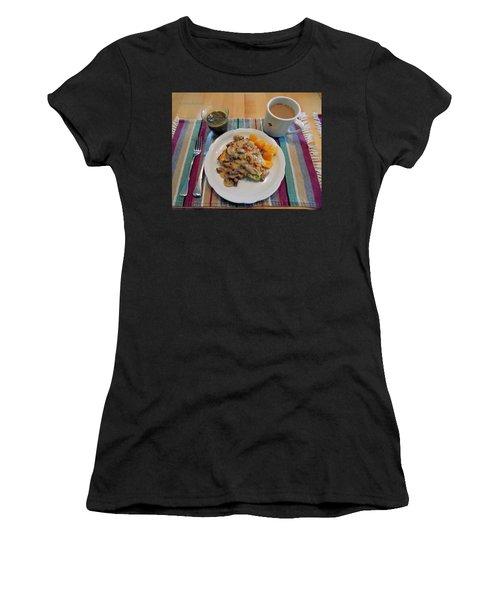 Mushroom Gravy Over Breakfast Quiche  Women's T-Shirt