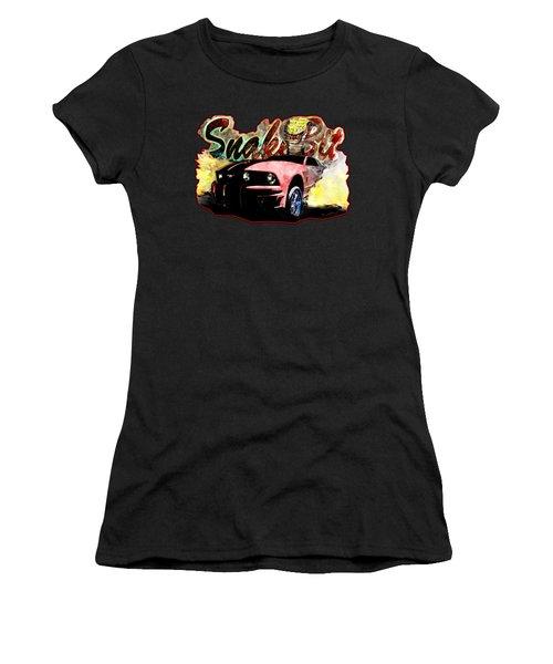 Mustanger Snakebit Burnout Hot Rod Art Women's T-Shirt (Athletic Fit)