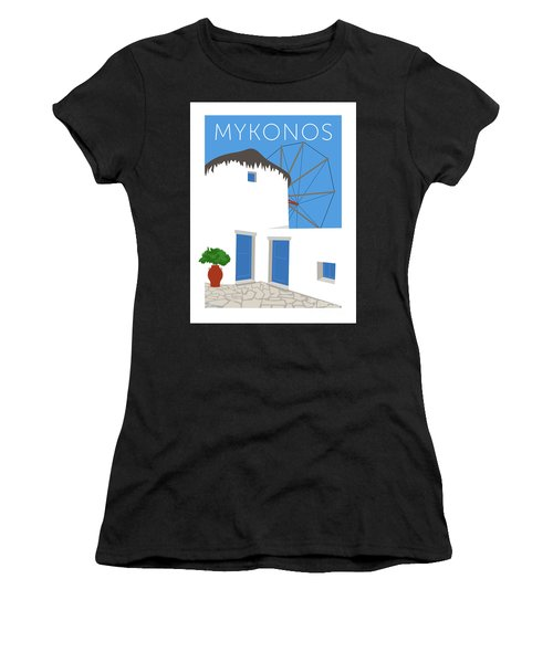 Mykonos Windmill - Blue Women's T-Shirt