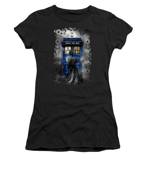 Mysterious Time Traveller With Black Jacket Women's T-Shirt (Junior Cut) by Three Second