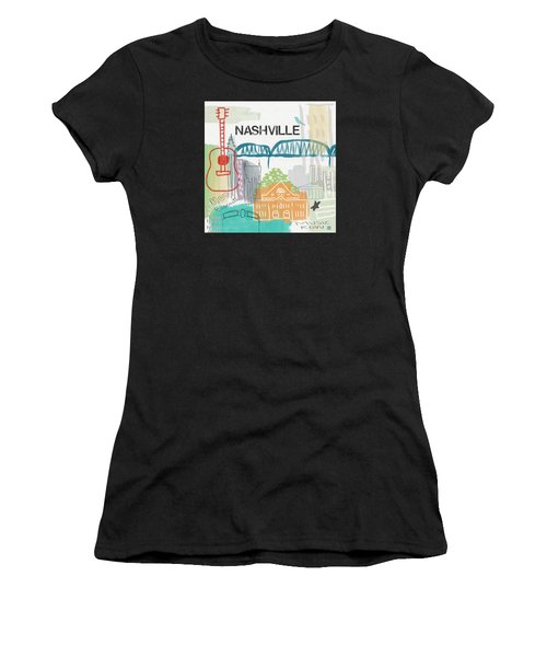 Nashville Cityscape- Art By Linda Woods Women's T-Shirt (Athletic Fit)