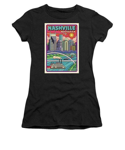 Nashville Poster - Vintage Pop Art Style Women's T-Shirt