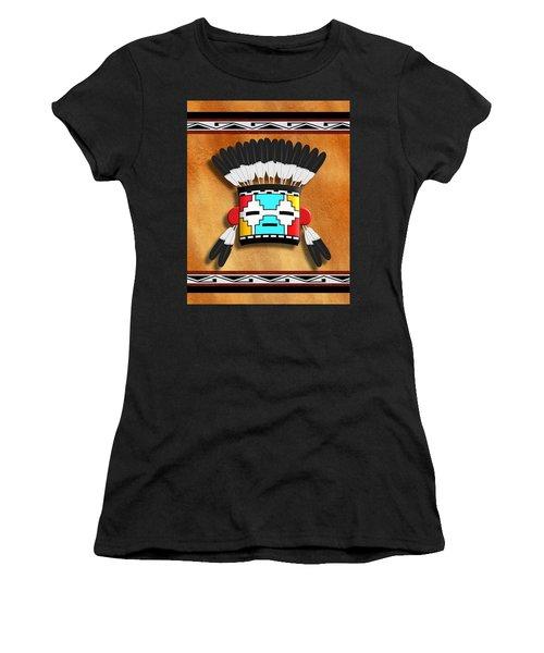 Native American Indian Kachina Mask Women's T-Shirt (Junior Cut) by John Wills