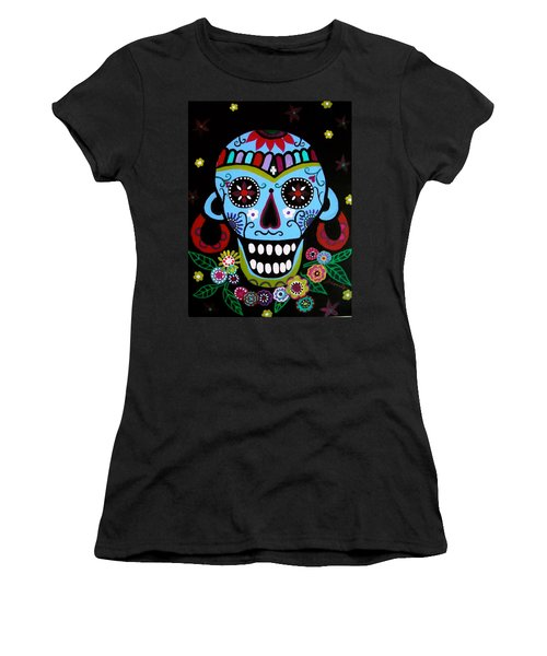 Women's T-Shirt (Junior Cut) featuring the painting Native Dia De Los Muertos Skull by Pristine Cartera Turkus