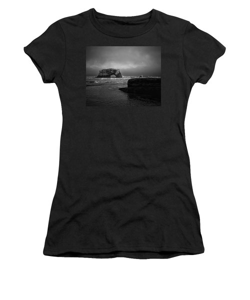 Women's T-Shirt (Athletic Fit) featuring the photograph Natural Bridge And The Gull by Lora Lee Chapman