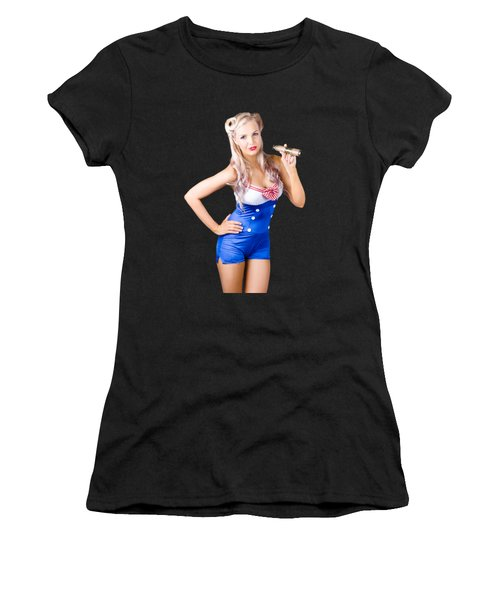 Nautical Woman In Sailor Outfit Women's T-Shirt