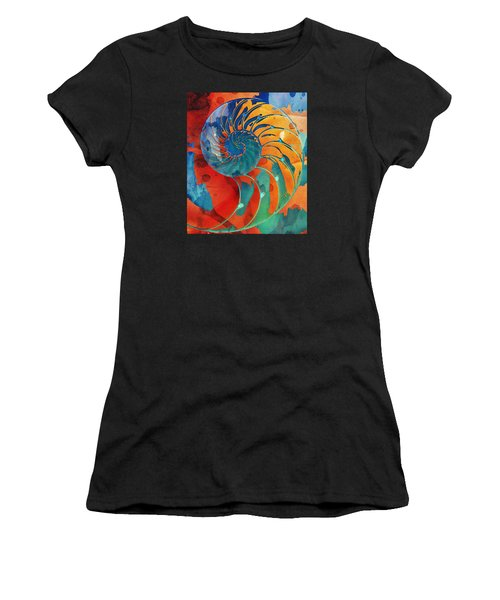 Nautilus Shell Orange Blue Green Women's T-Shirt