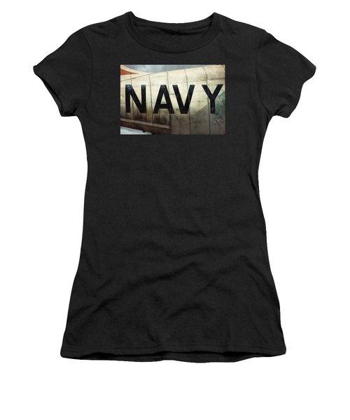 Women's T-Shirt (Junior Cut) featuring the photograph Navy - Kaman K-16b Experimental Aircraft by Gary Heller