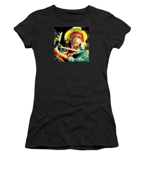 Neil Young Women's T-Shirt (Junior Cut) by Les Leffingwell