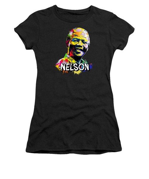 Nelson Mandela Madiba Women's T-Shirt (Junior Cut) by Anthony Mwangi