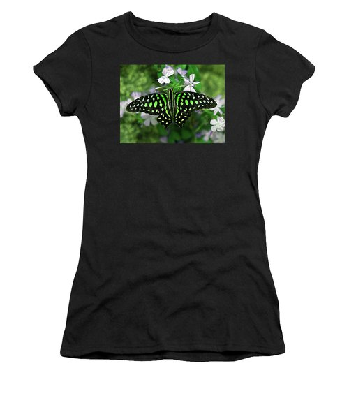 Neon --- Tailed Jay Butterfly Women's T-Shirt (Athletic Fit)
