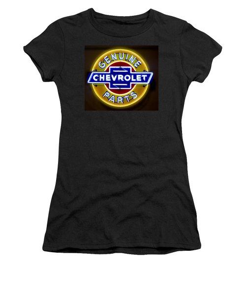 Neon Genuine Chevrolet Parts Sign Women's T-Shirt