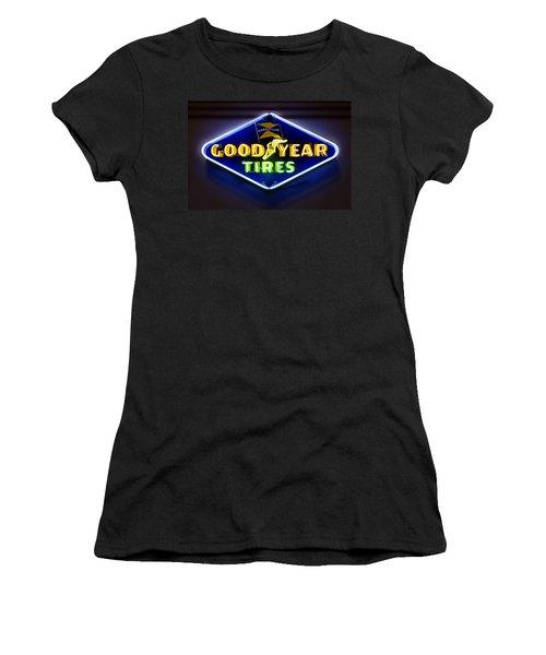 Neon Goodyear Tires Sign Women's T-Shirt