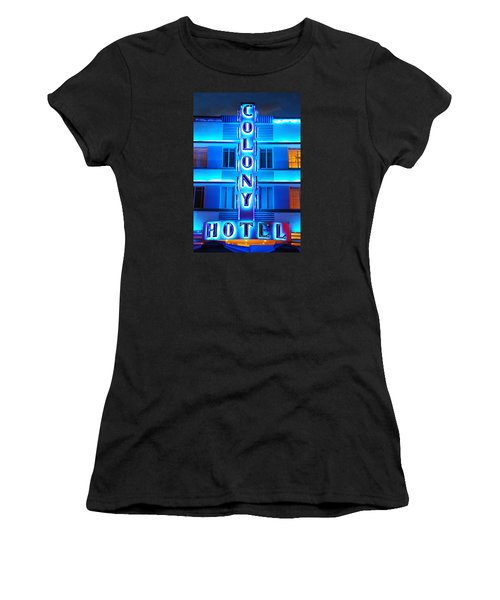 Neon Lights Of The Colony Hotel, Miami Beach Women's T-Shirt (Athletic Fit)