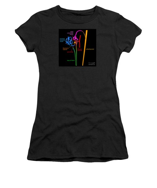 Women's T-Shirt (Athletic Fit) featuring the digital art Nephron Black With Coloured Labels by Russell Kightley