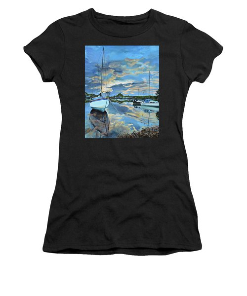 Nestled In For The Night At Mylor Bridge - Cornwall Uk - Sailboat  Women's T-Shirt