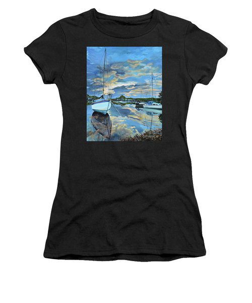 Nestled In For The Night At Mylor Bridge - Cornwall Uk - Sailboat  Women's T-Shirt