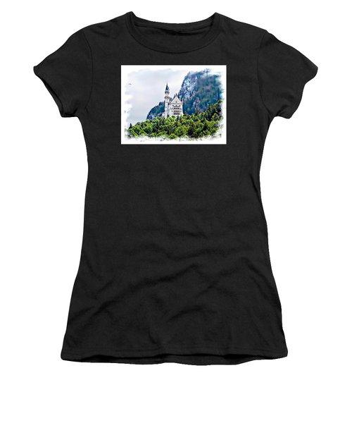 Neuschwanstein Castle With A Glider Women's T-Shirt (Athletic Fit)