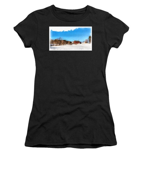 New England Farm Winter South Woodstock Vermont Women's T-Shirt