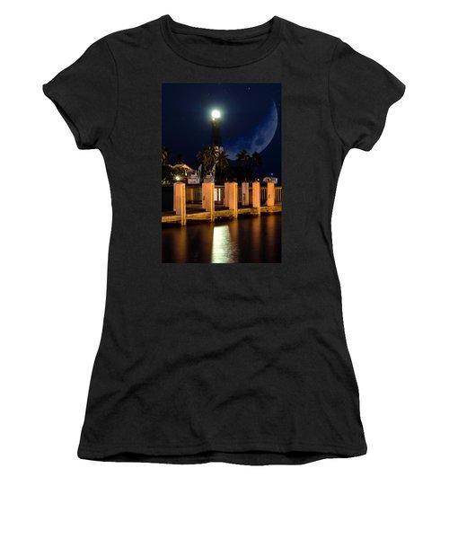 New Moon At Hillsboro Inlet Lighthouse Women's T-Shirt