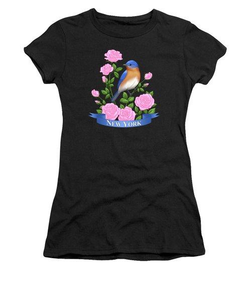 New York Bluebird And Pink Roses Women's T-Shirt