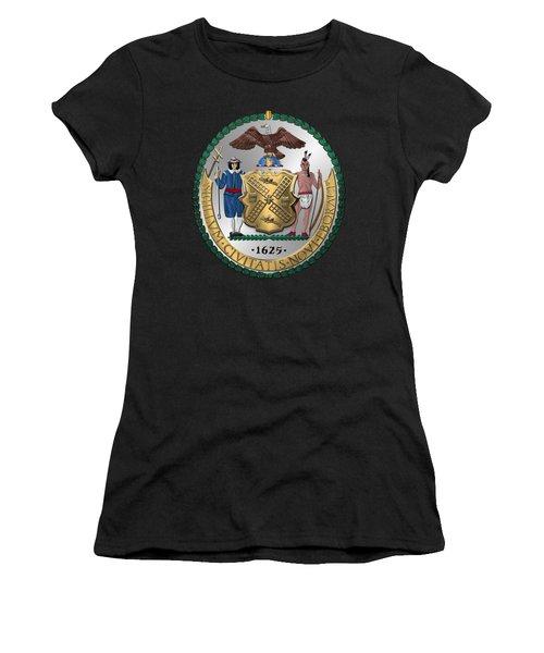 New York City Coat Of Arms - City Of New York Seal Over Red Velvet Women's T-Shirt