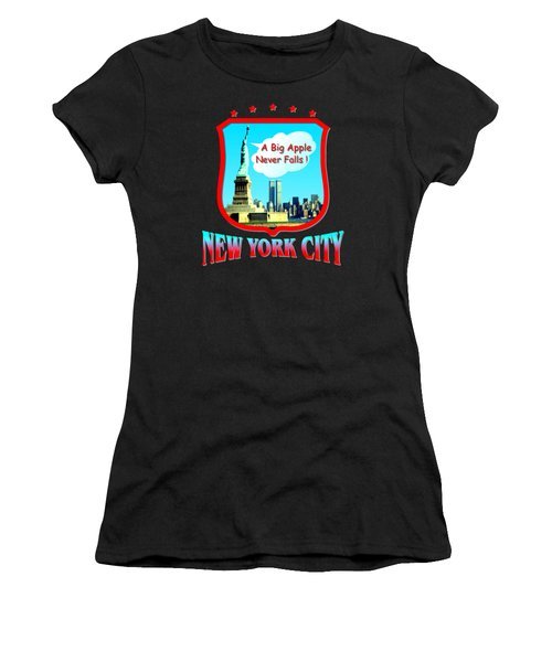 New York City Big Apple - Tshirt Design Women's T-Shirt (Junior Cut) by Art America Gallery Peter Potter