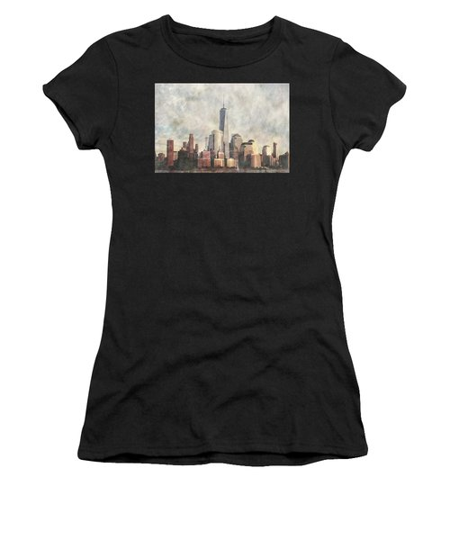 Women's T-Shirt (Athletic Fit) featuring the photograph New York City Skyline Including The World Trade Centre by Anthony Murphy
