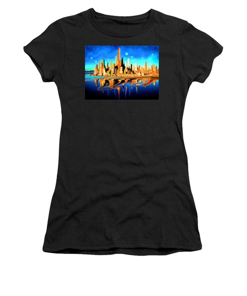 New York Skyline In Blue Orange - Modern Fantasy Art Women's T-Shirt