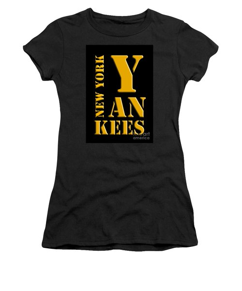 New York Yankees Black And Yellow Women's T-Shirt
