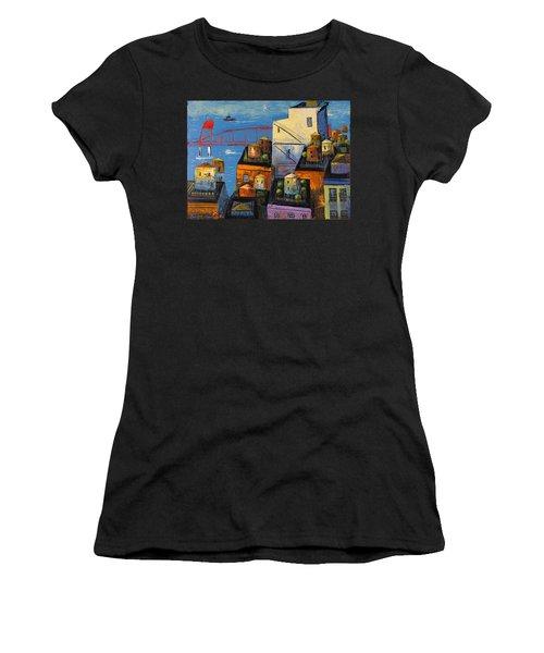 New York,red Bridge Women's T-Shirt (Junior Cut) by Mikhail Zarovny