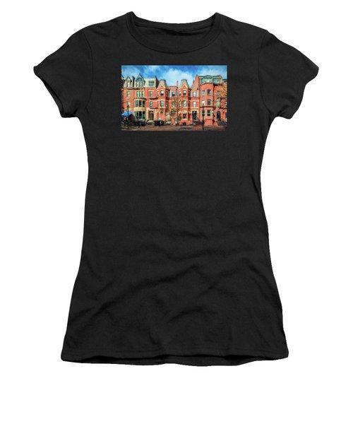 Newbury Street In Boston Women's T-Shirt (Athletic Fit)